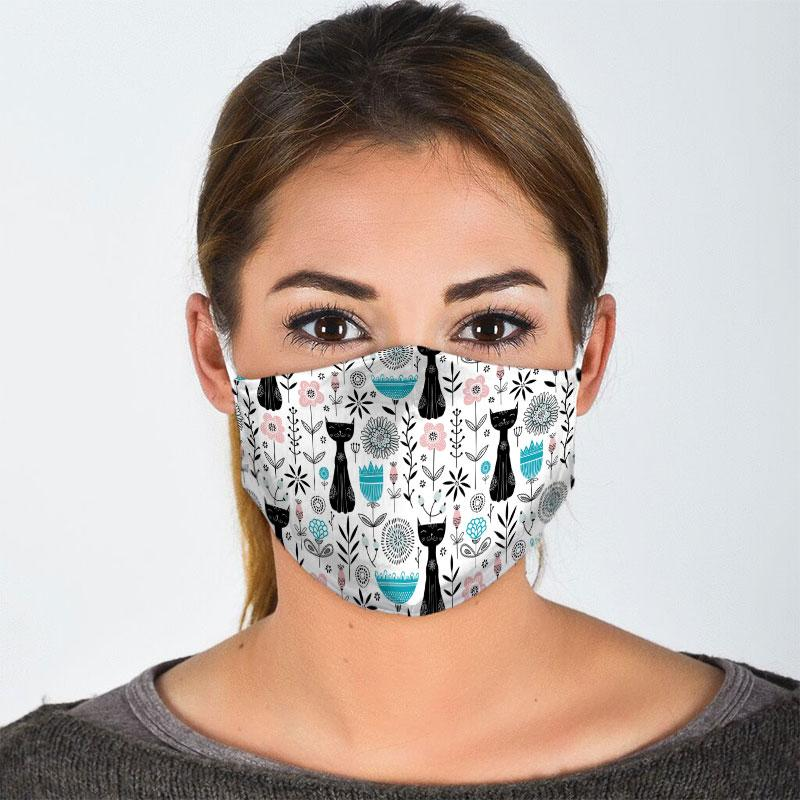 black cat pattern all over print face mask 2