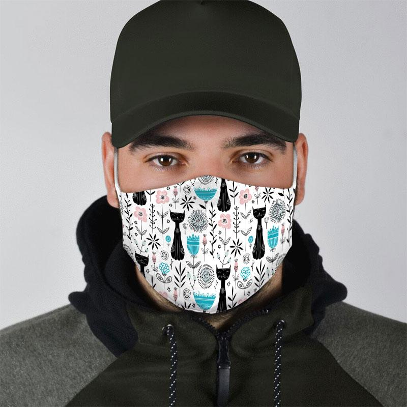black cat pattern all over print face mask 4