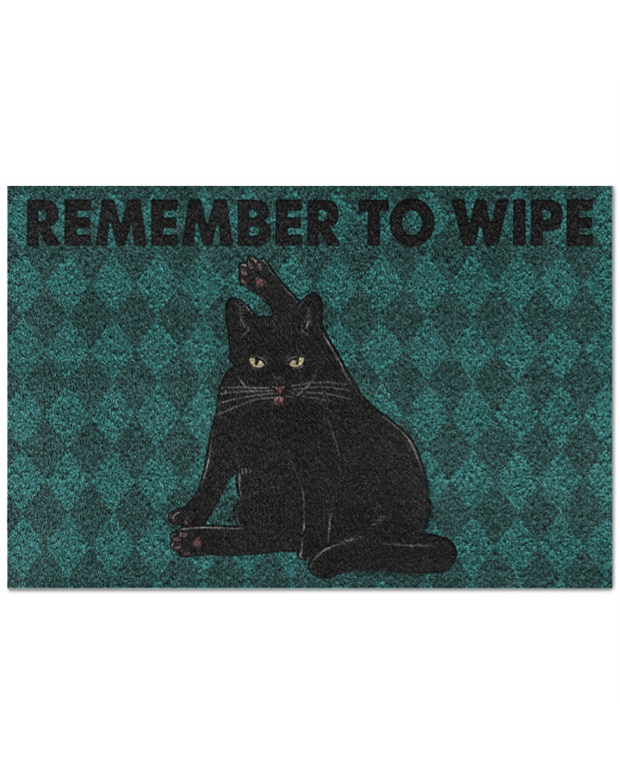 black cat remember to wipe full printing doormat 2
