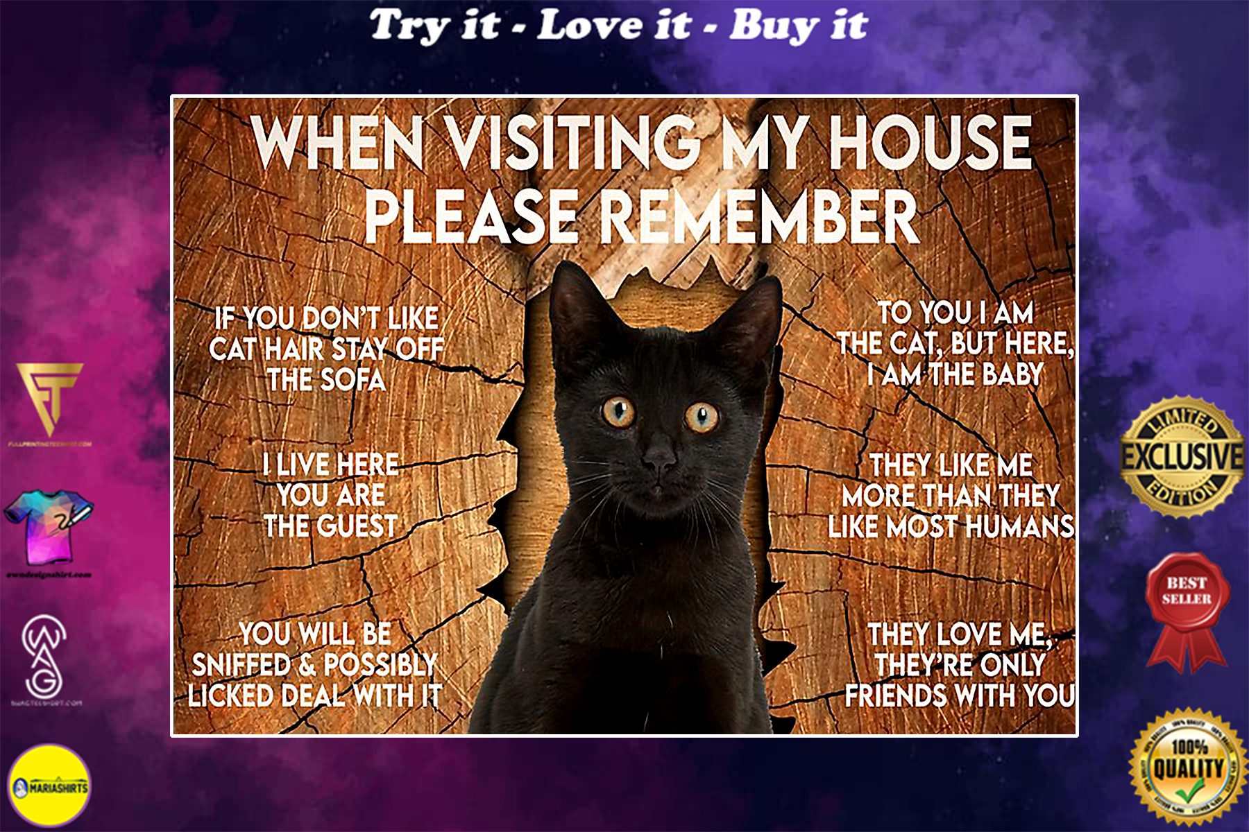 black cat when visiting my house please remember poster