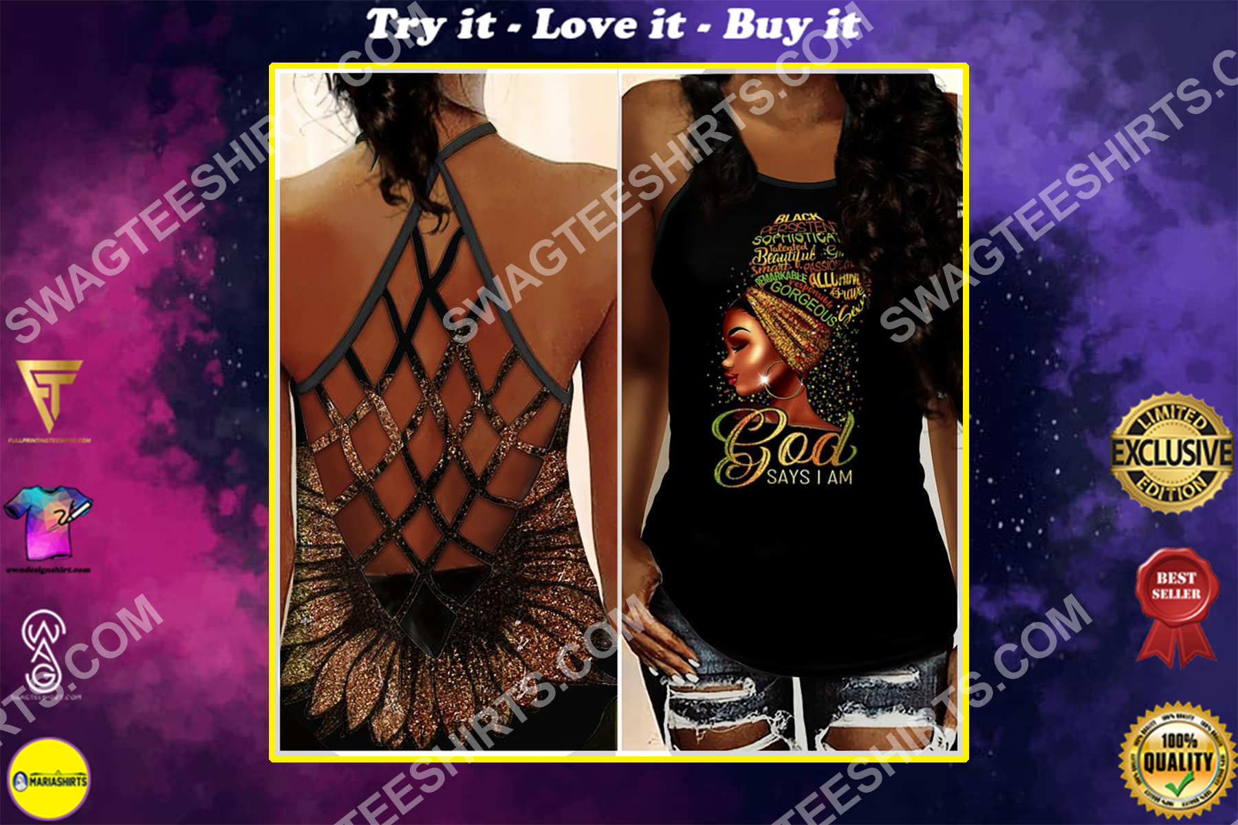 black girl God says i am all over printed strappy back tank top