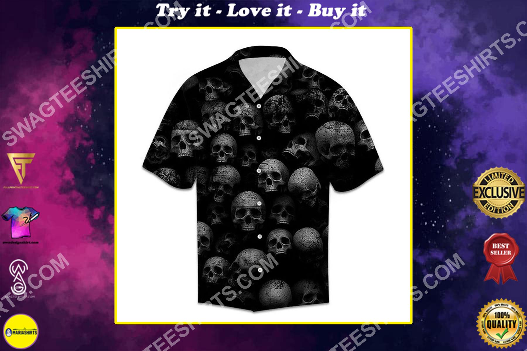 black skull all over printed hawaiian shirt