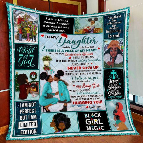 black woman to my daughter child of god all over print quilt 3