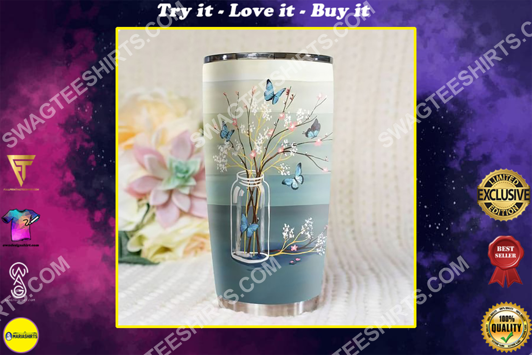 blue butterfly love never dies all over printed stainless steel tumbler