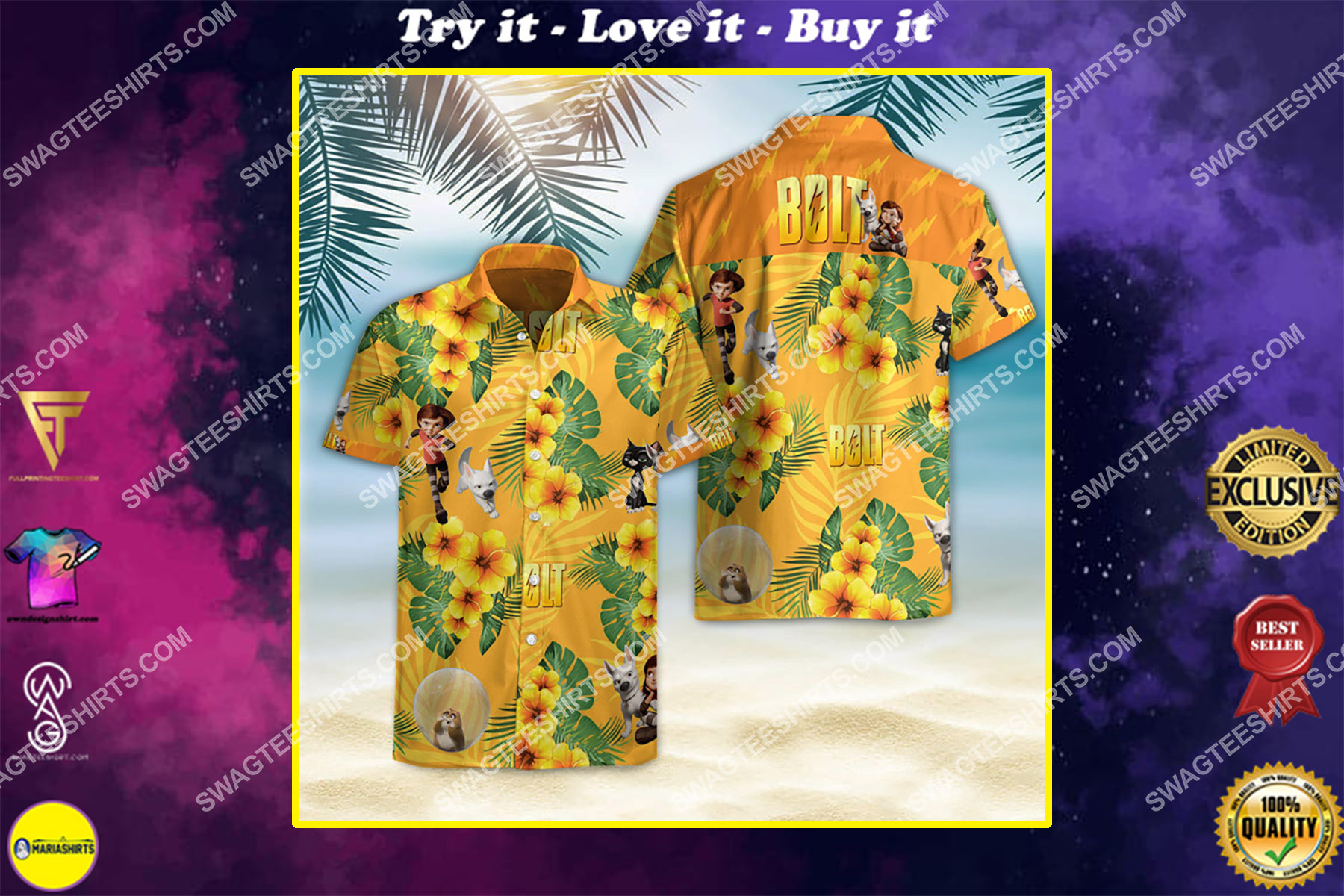bolt movie all over printed hawaiian shirt