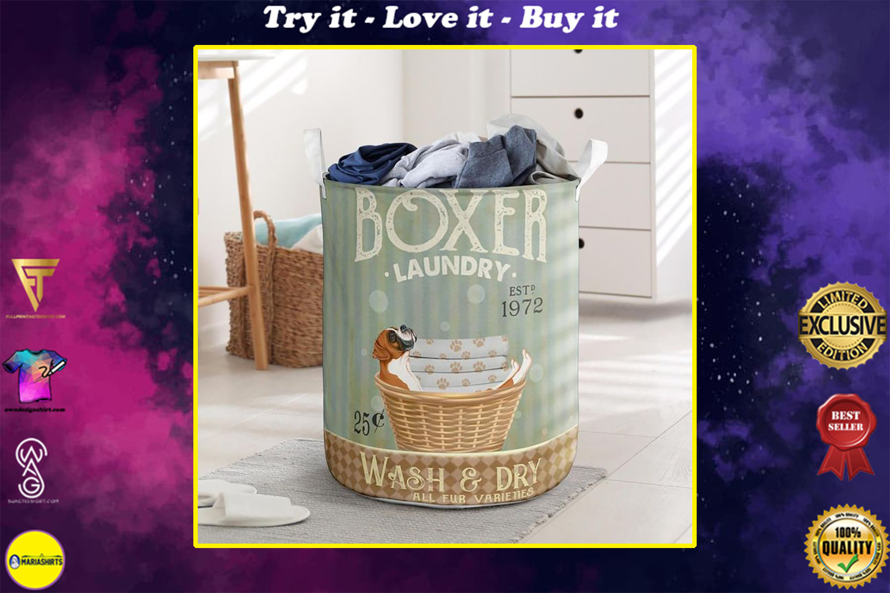 boxer wash and dry all over print laundry basket
