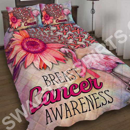 breast cancer awareness and flamingo all over printed bedding set 3 - Copy (2)