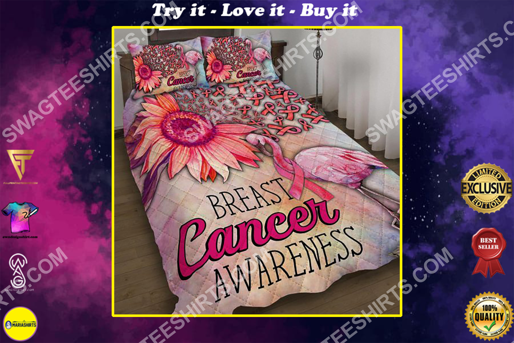 breast cancer awareness and flamingo all over printed bedding set