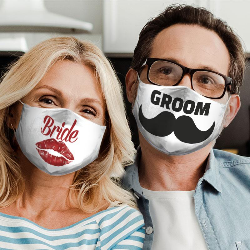 bride and groom for couple love all over print face mask 5