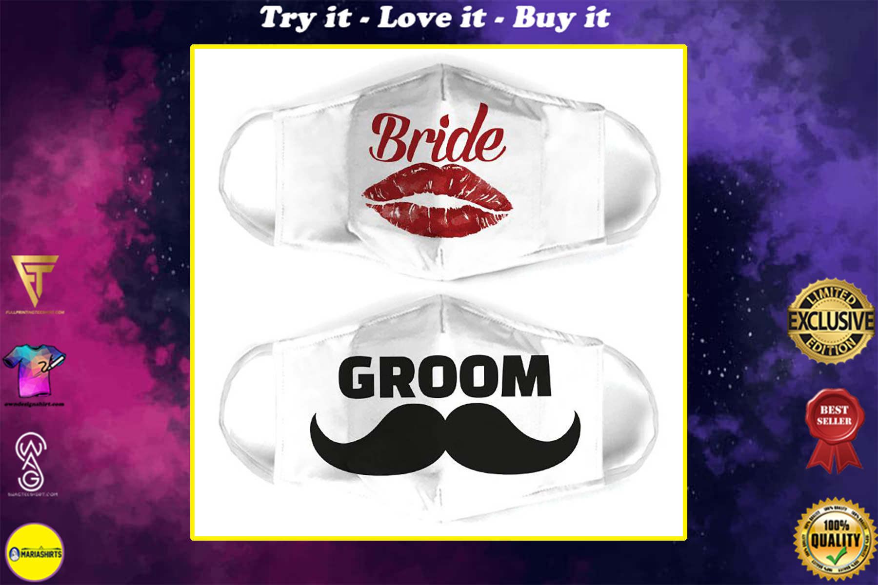 bride and groom for couple love all over print face mask