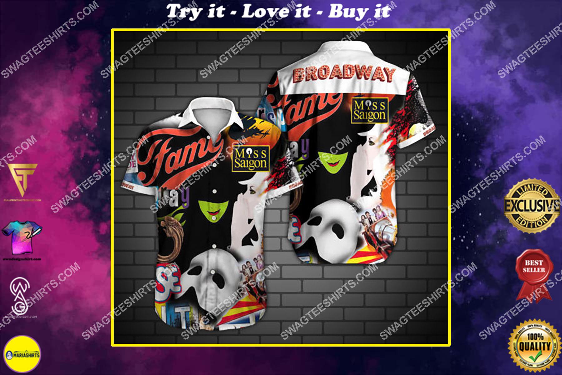 broadway fame all over print hawaiian shirt