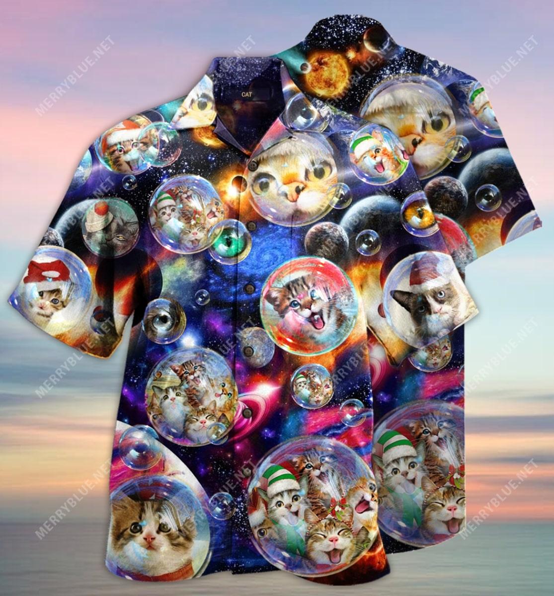 bubble cats all over printed hawaiian shirt 3