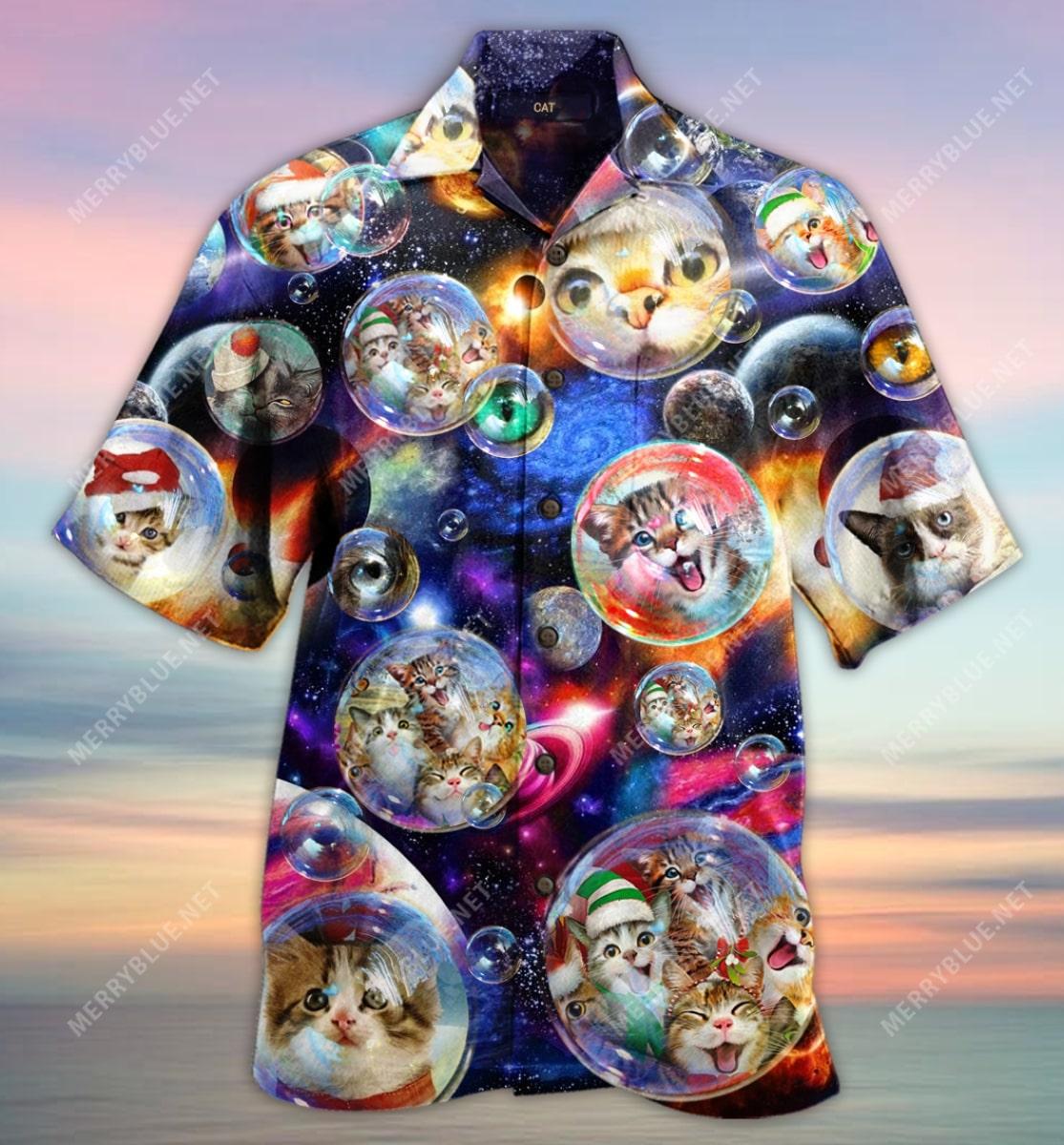 bubble cats all over printed hawaiian shirt 4