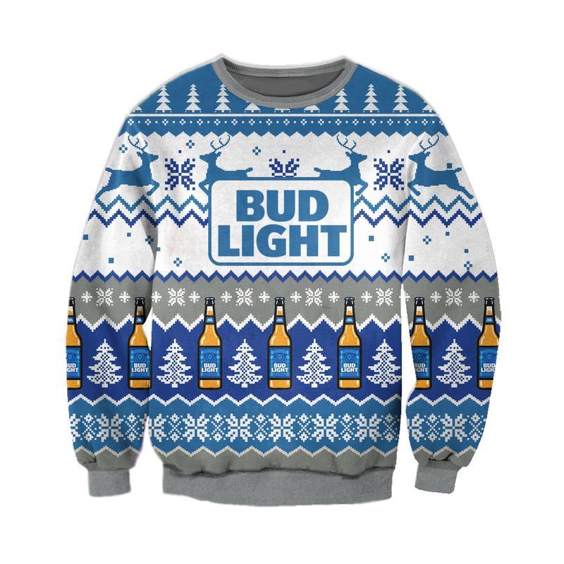 bud light beer full printing ugly christmas sweater 2