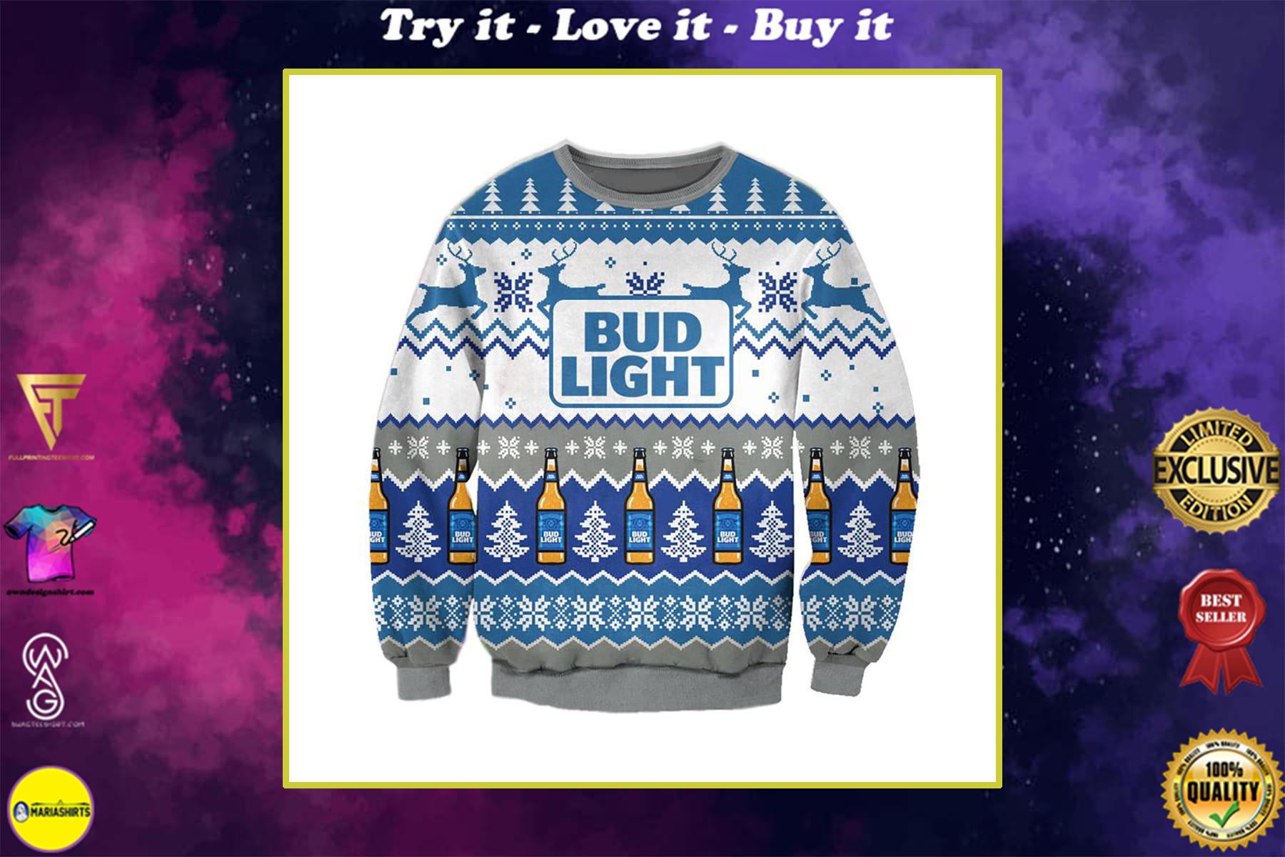 bud light beer full printing ugly christmas sweater