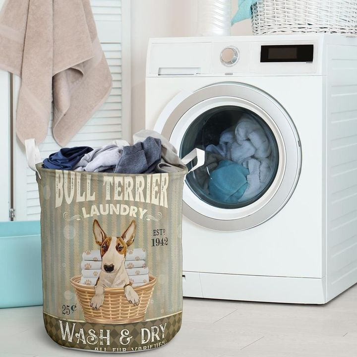 bull terier wash and dry all over print laundry basket 2