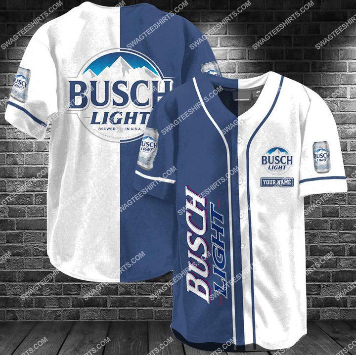 busch light all over printed baseball shirt 1