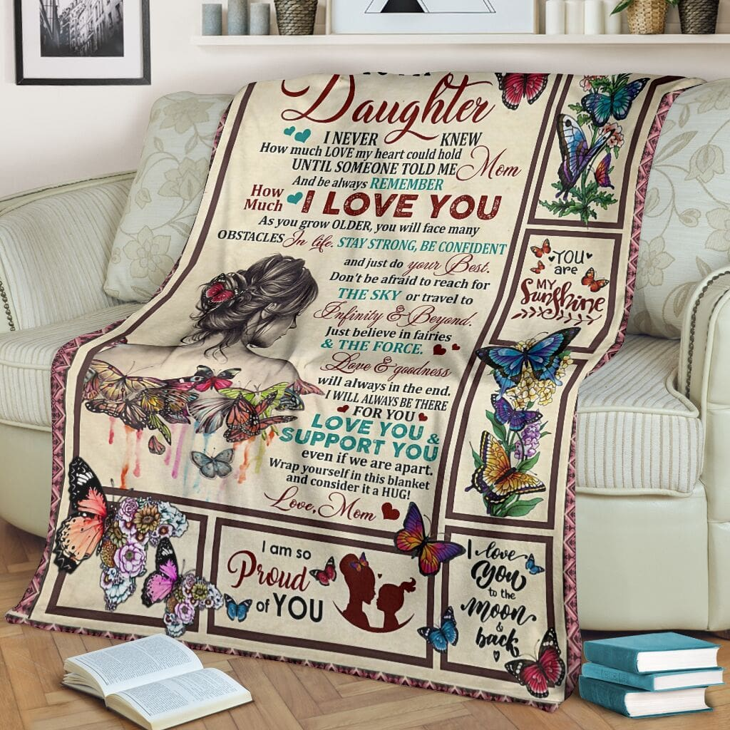 butterfly and girl to my daughter i am so proud of you full printing blanket 2