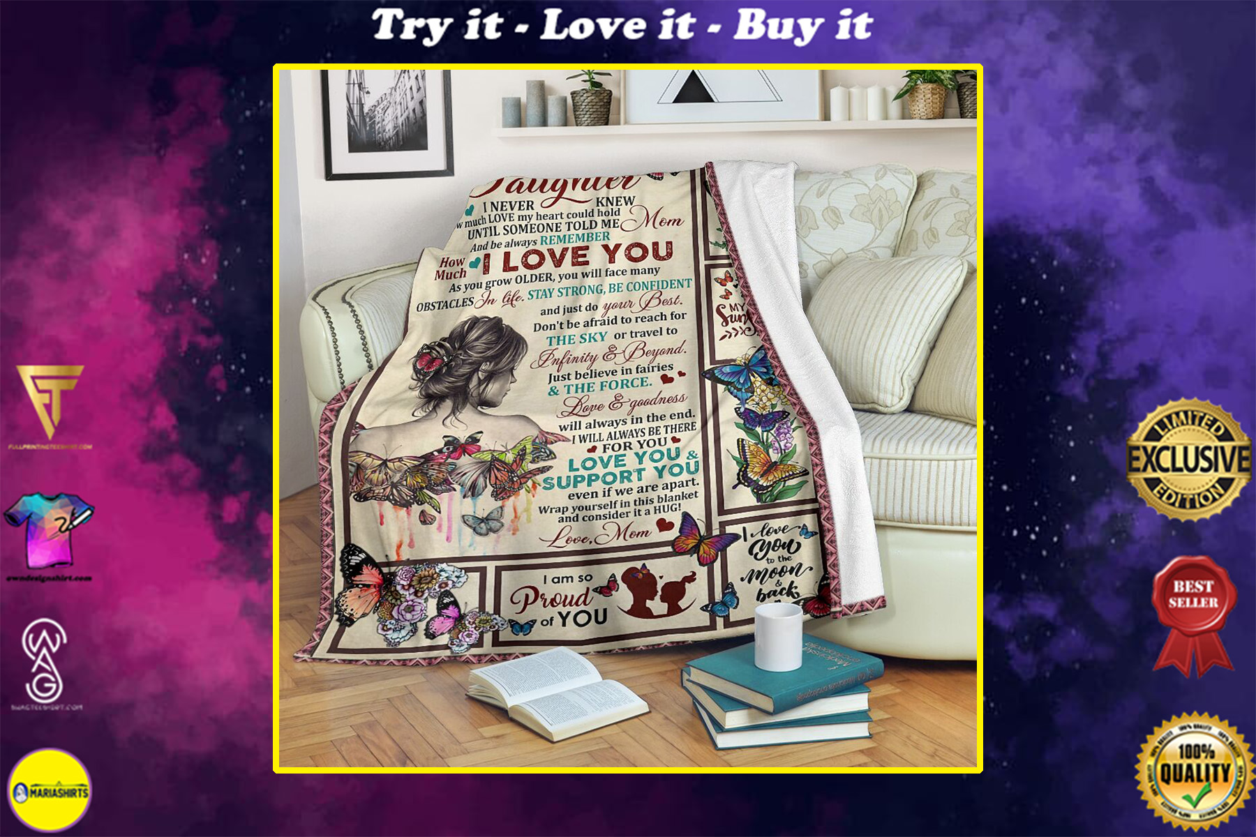 butterfly and girl to my daughter i am so proud of you full printing blanket