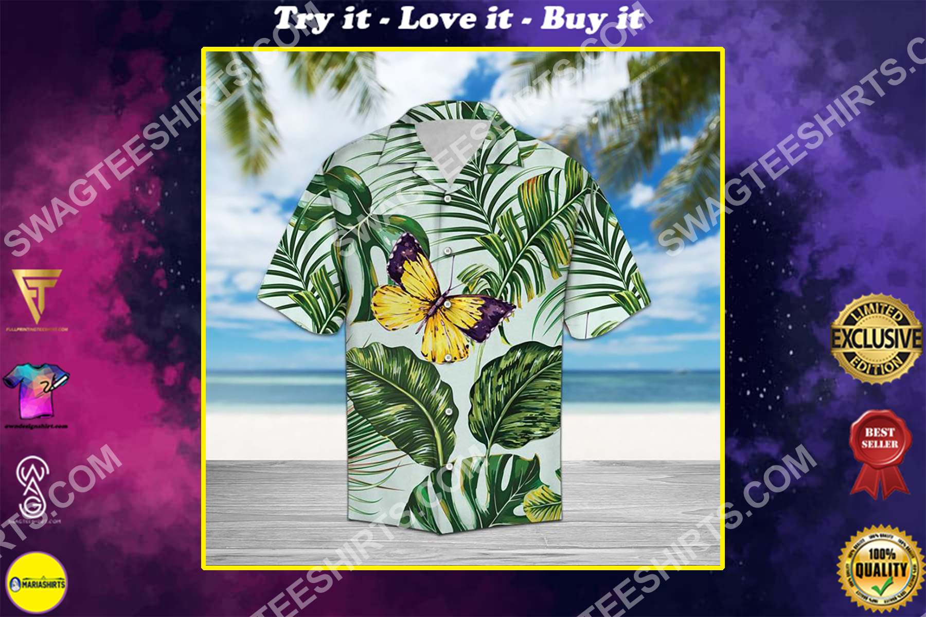 butterfly and palm all over printed hawaiian shirt