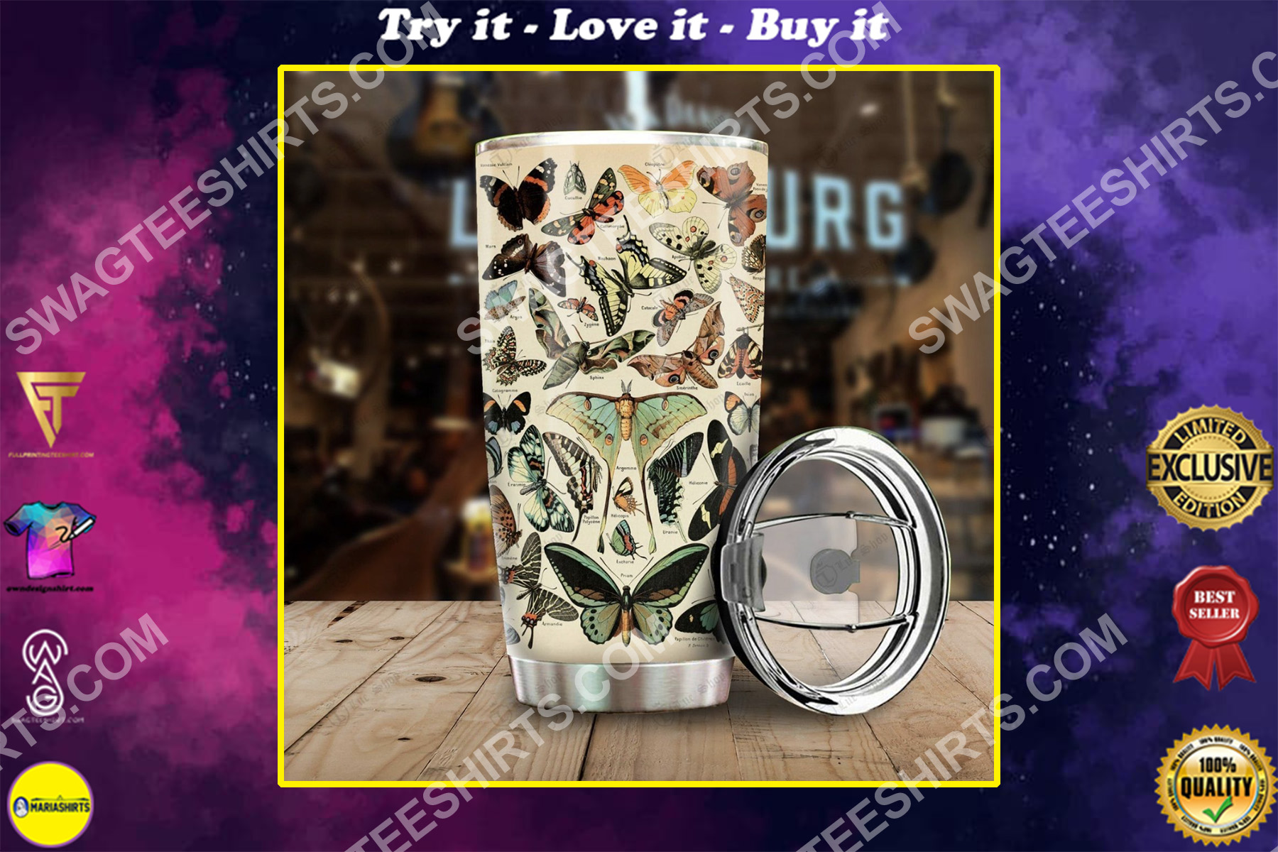 butterfly breeds all over printed stainless steel tumbler