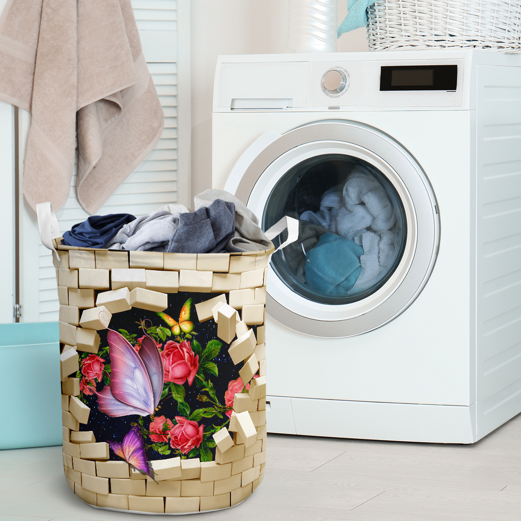 butterfly brick wall all over printed laundry basket 2