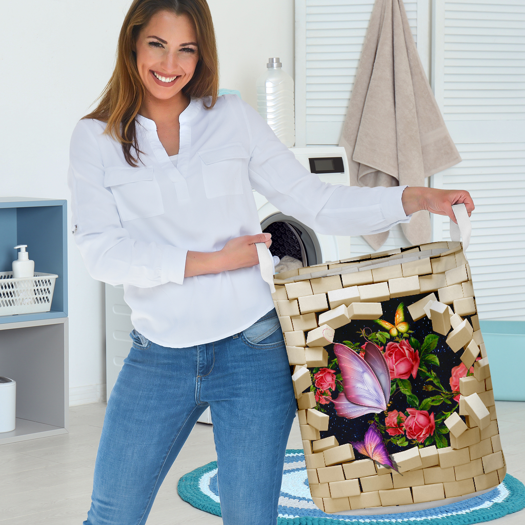 butterfly brick wall all over printed laundry basket 3