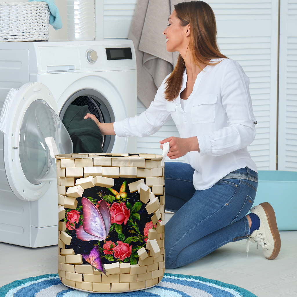 butterfly brick wall all over printed laundry basket 4
