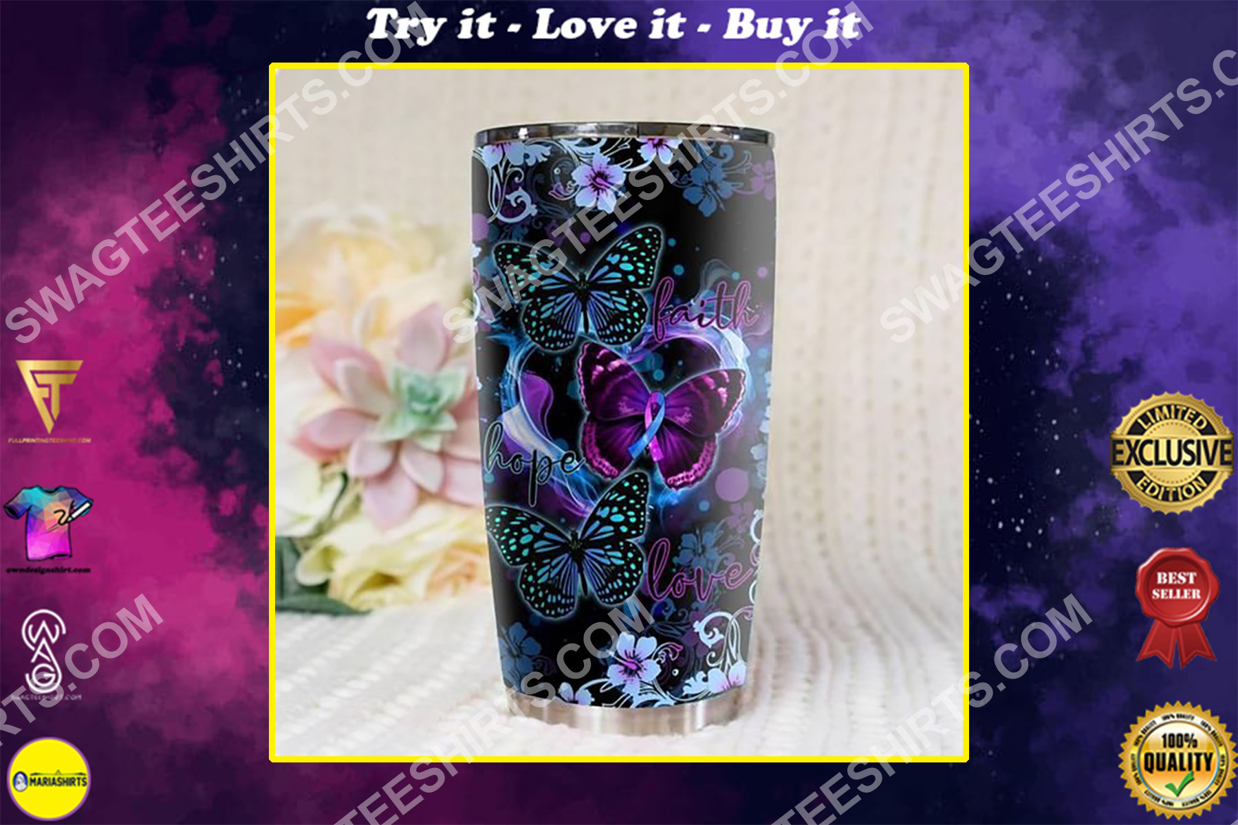 butterfly love hope faith all over printed stainless steel tumbler