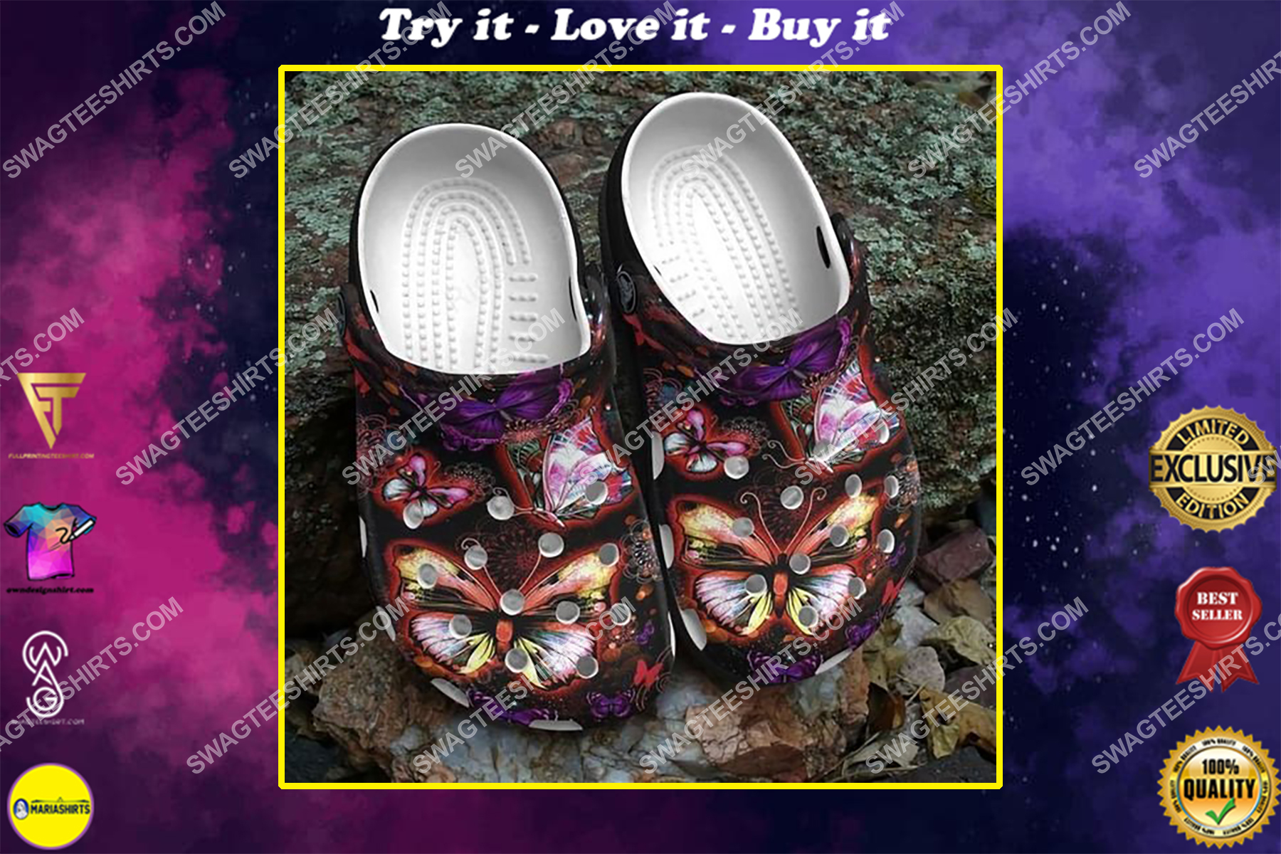 butterfly lovers all over printed crocs crocband clog