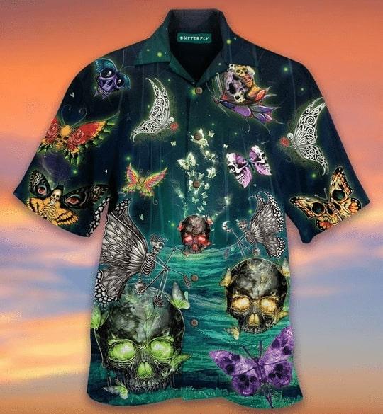 butterfly skull all over printed hawaiian shirt 2