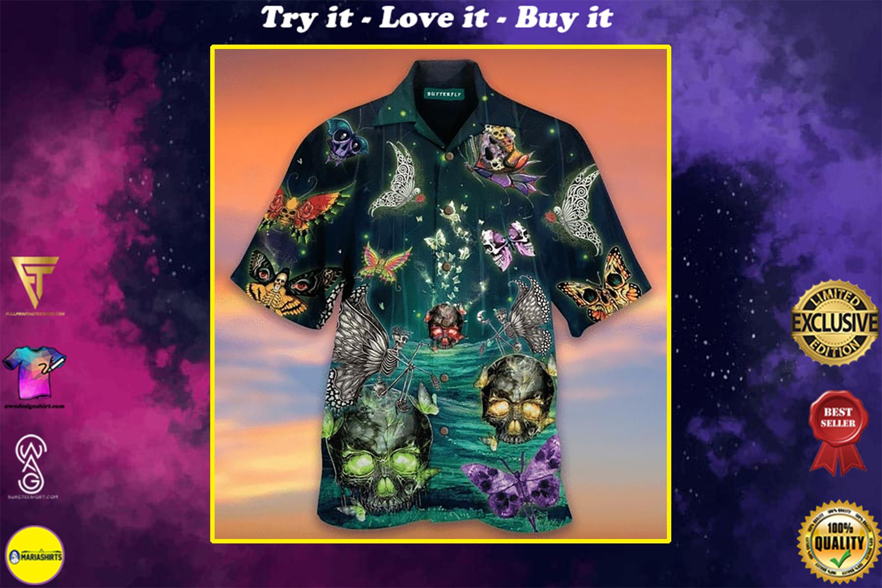 butterfly skull all over printed hawaiian shirt