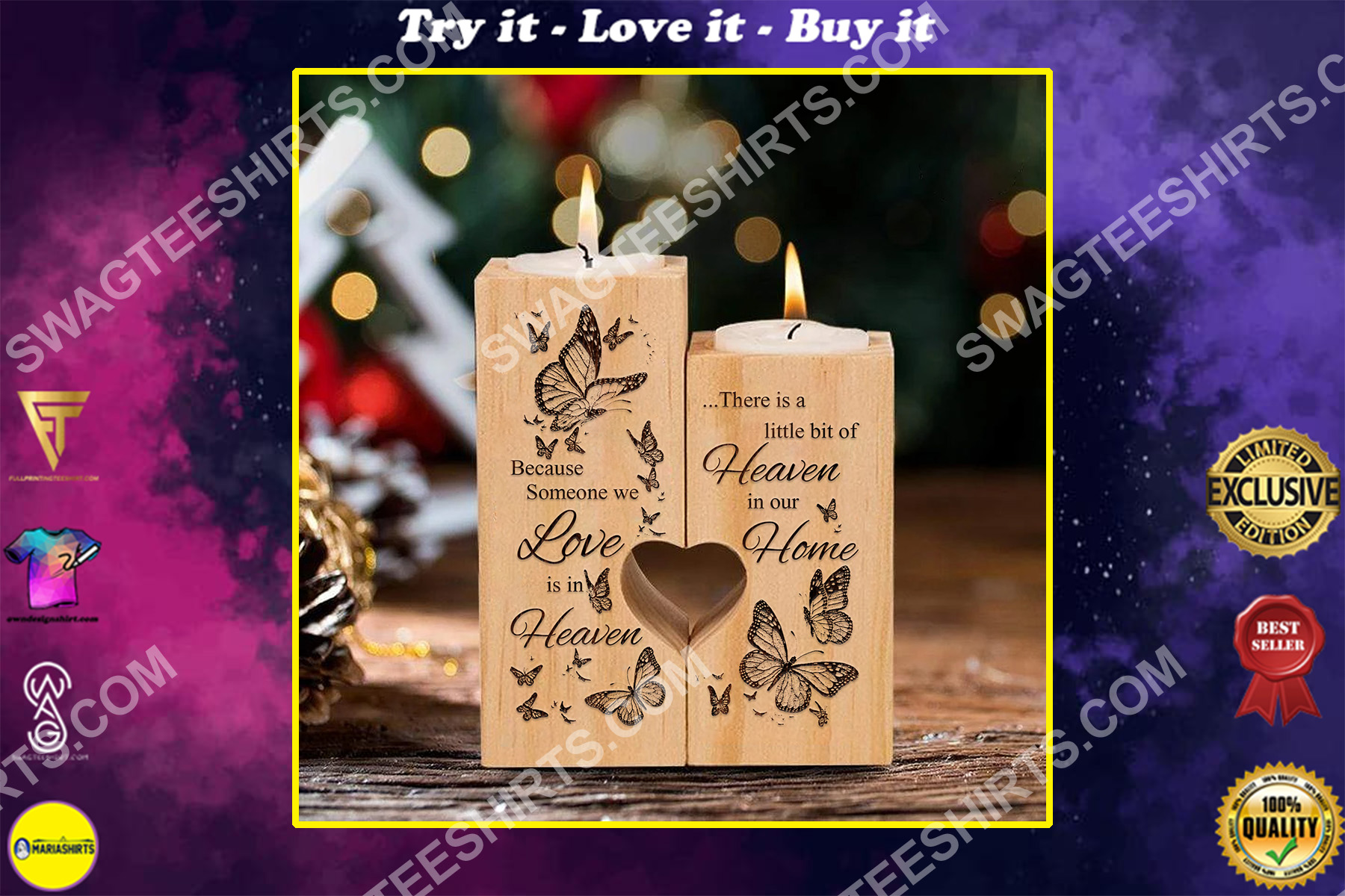 butterfly someone we love is in heaven candle holder