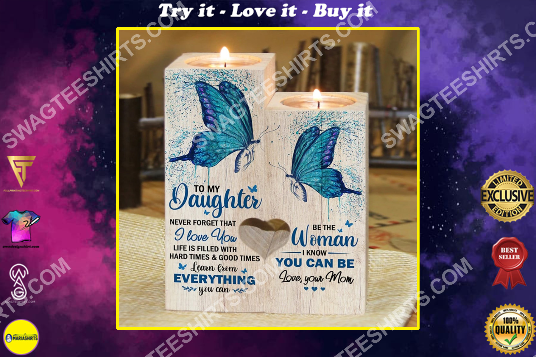 butterfly to my daughter be the woman i know you can be your mom candle holder
