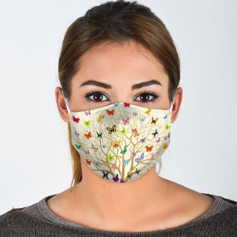 butterfly with life of tree all over print face mask 3