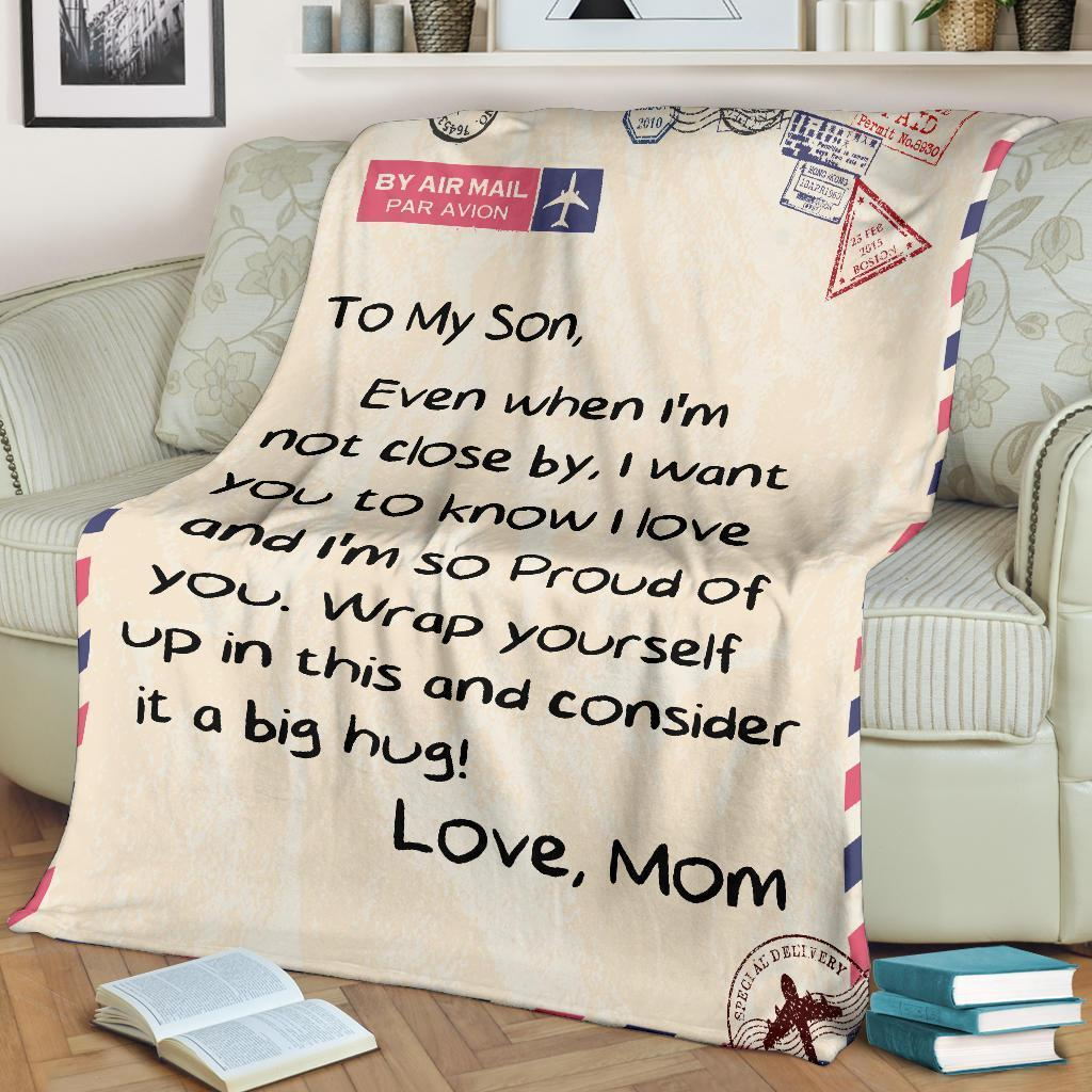 by air mail to my son wrap yourself up in this and consider it a big hug love mom blanket 2