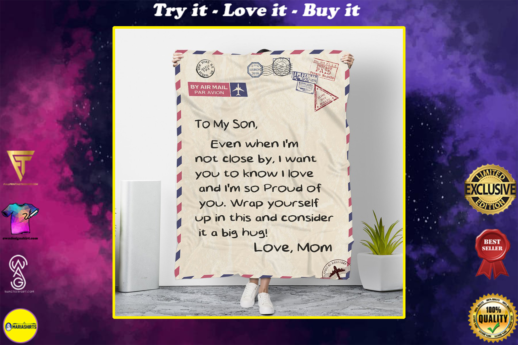 by air mail to my son wrap yourself up in this and consider it a big hug love mom blanket