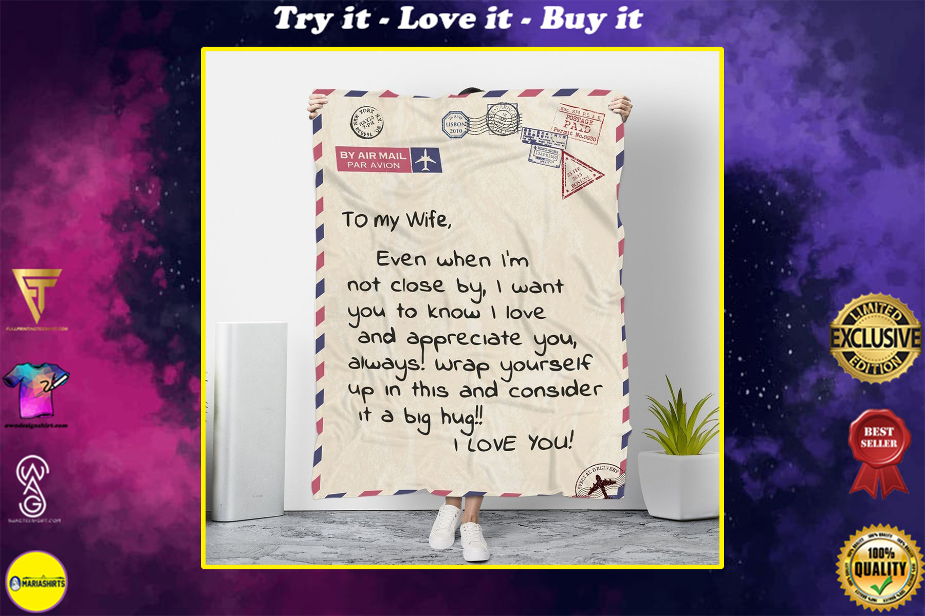 by air mail to my wife wrap yourself up with this i love you blanket