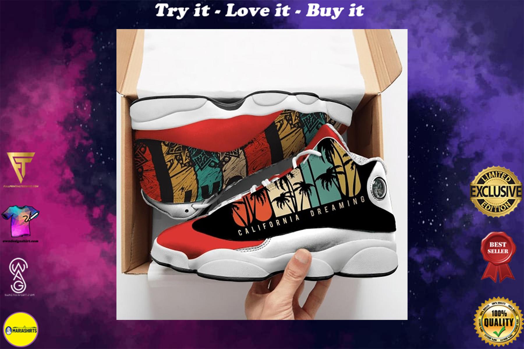california dreaming vintage all over printed air jordan 13 sneakers