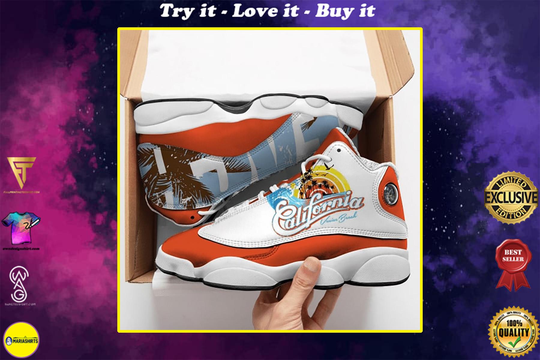california love vintage all over printed air jordan 13 sneakers