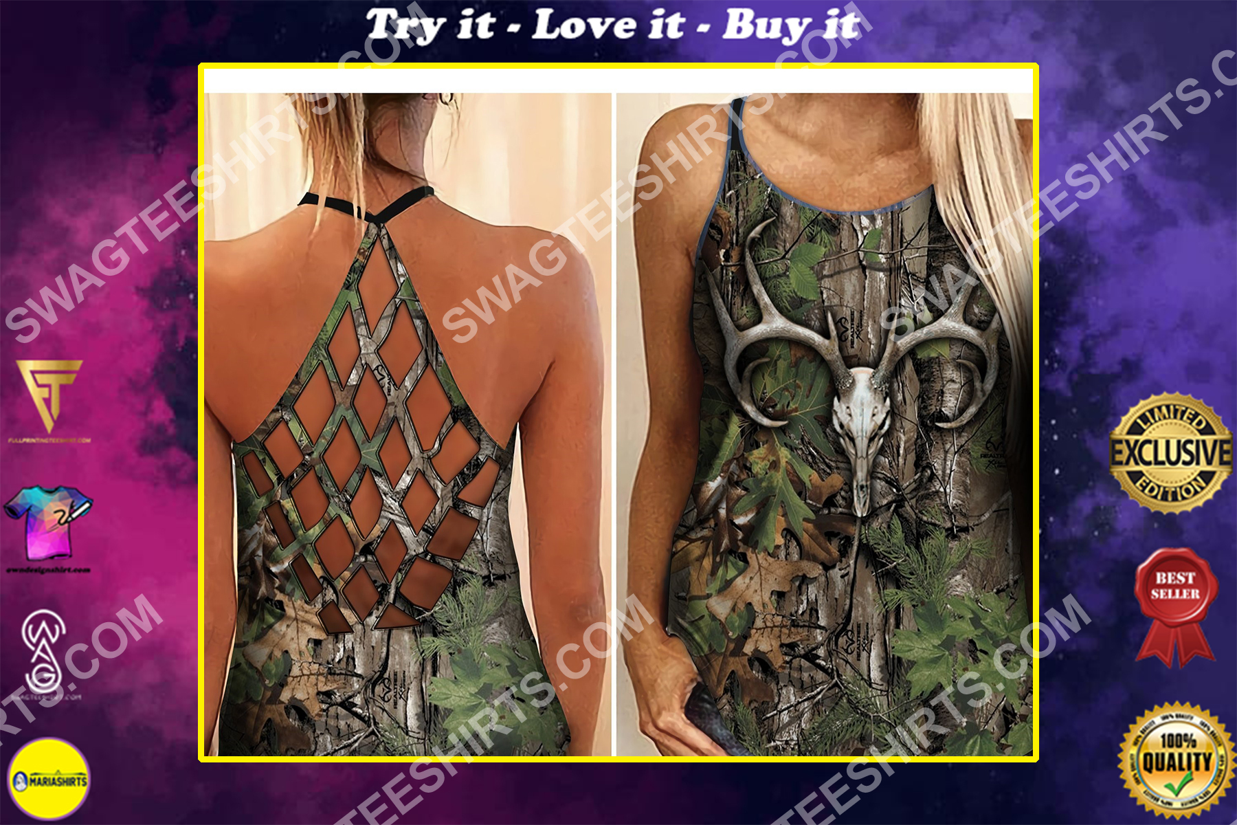 camo hunting girl all over printed strappy back tank top