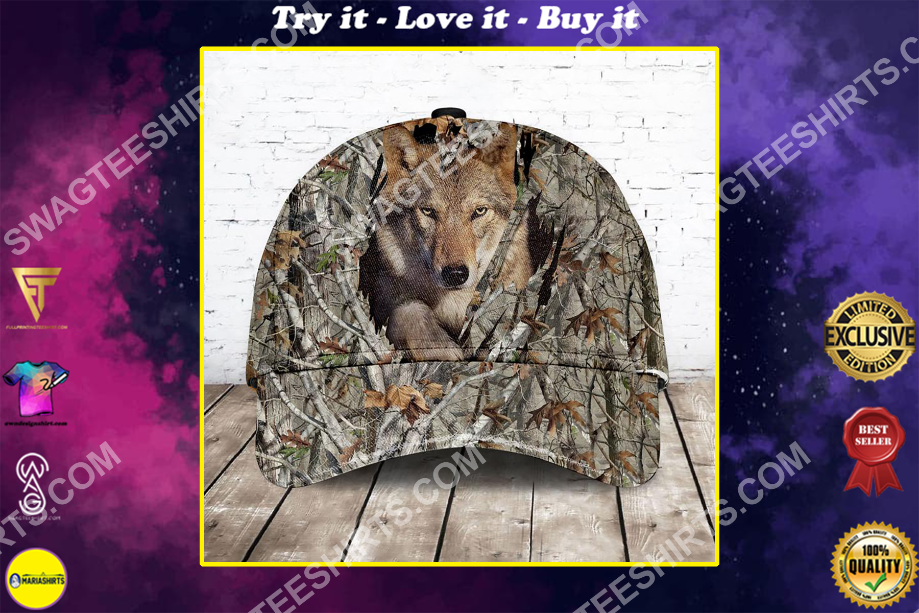 camo version wolf all over printed classic cap