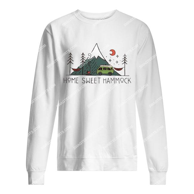 camping home sweet hammock for camper sweatshirt 1