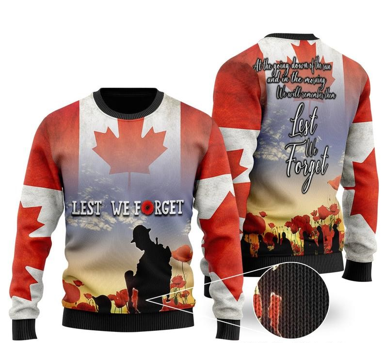 canadian veterans lest we forget all over printed ugly christmas sweater 2