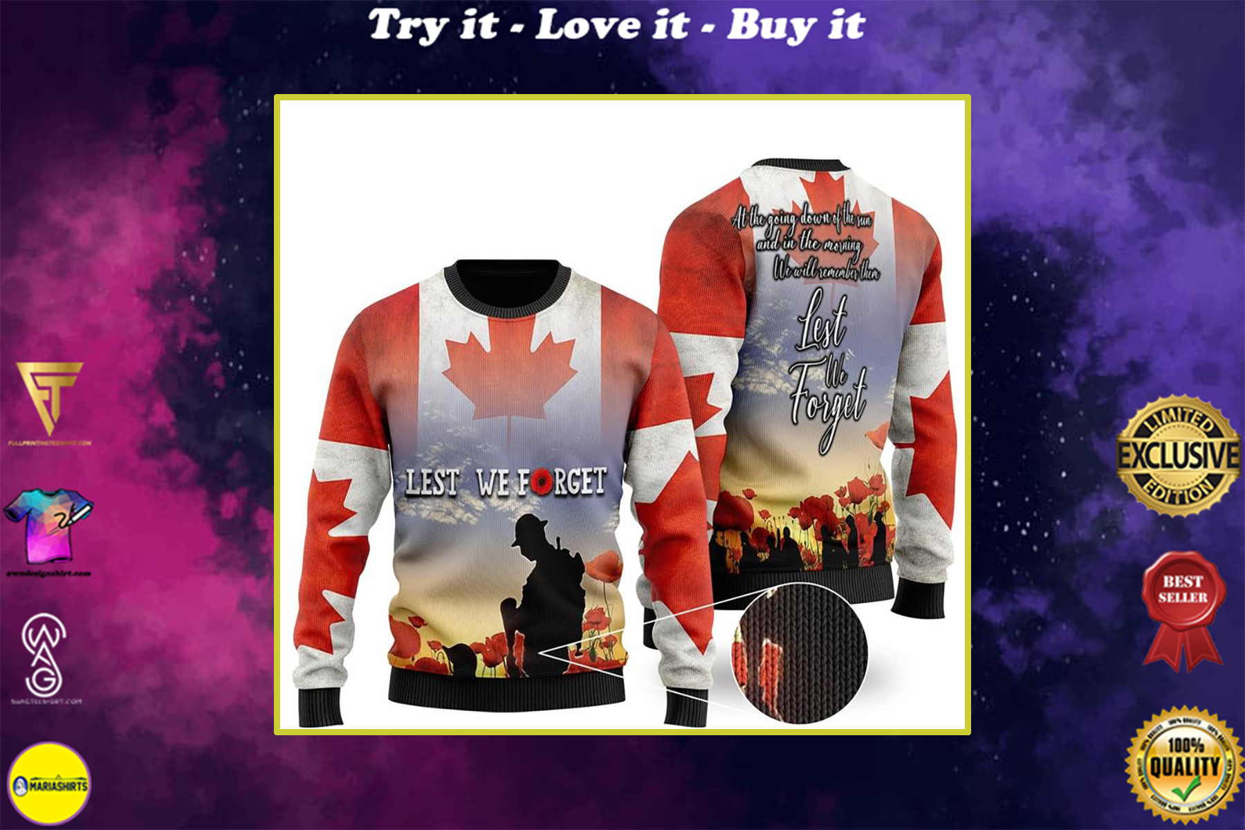 canadian veterans lest we forget all over printed ugly christmas sweater