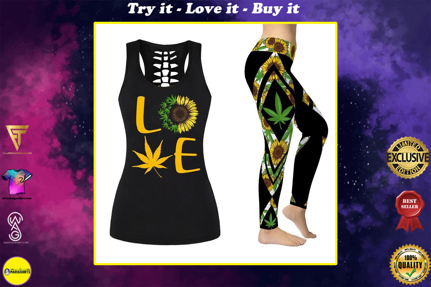 cannabis sunflower all over printed shirt