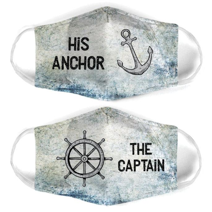 captain and anchor couple his anchor all over print face mask 3