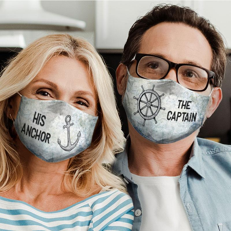 captain and anchor couple his anchor all over print face mask 5