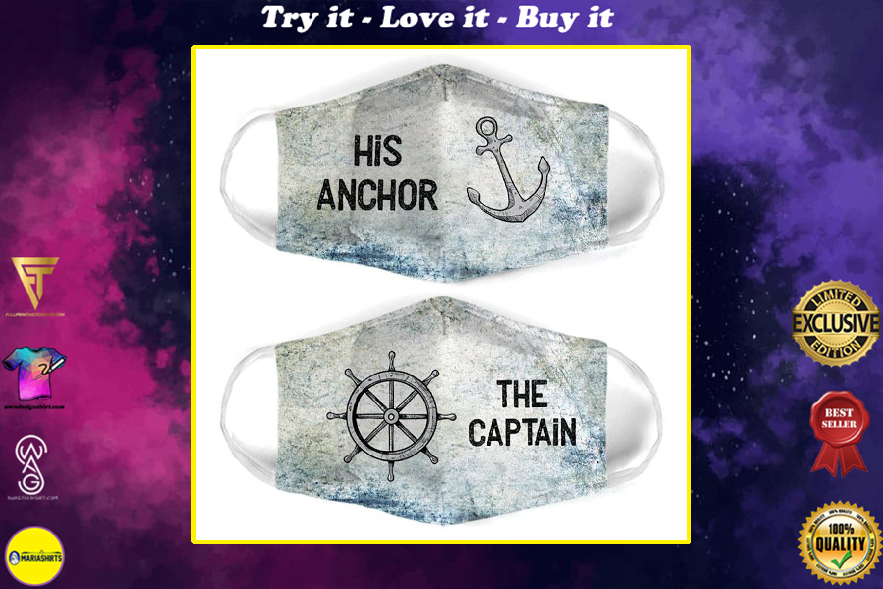 captain and anchor couple the captain all over print face mask