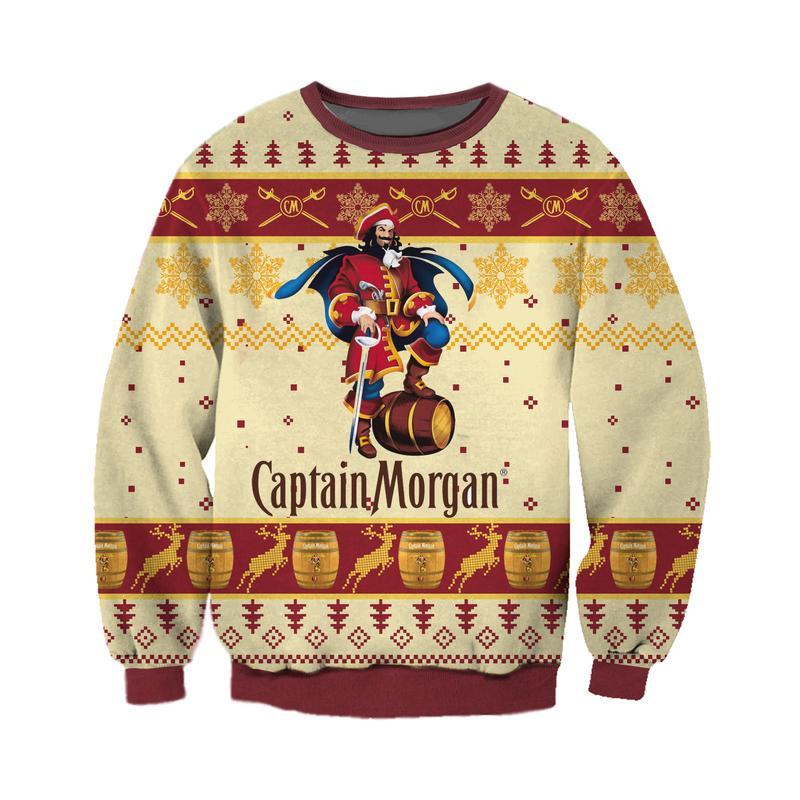 captain morgan full printing ugly christmas sweater 2
